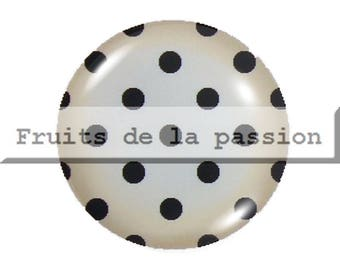 Set of 2 cabochon 18mm, vintage, polka dot, black and beige round glass