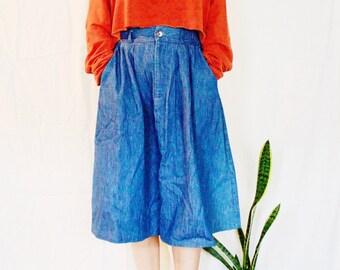 Denim Mid-Length Vintage Skirt