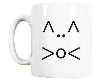 Text Face Cat Mug, cat lover gift, gift for cat lover, cute cat, funny cat, gift for cat owner, cat lover gift for, cat lover gifts for,