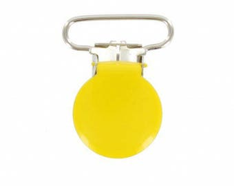 Pacifier clip round 22mm yellow