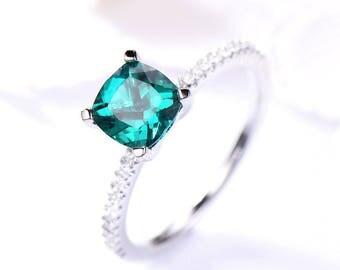 Lab Emerald Engagement Ring Cushion Cut 925 Sterling Silver White Gold Wedding Ring CZ half Eternity Thin Band Bridal Women Gift 14k 18k