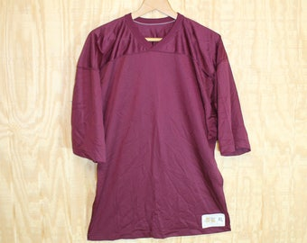Vintage 1970's Russell Athletics Label Maroon Blank Football Jersey Nylon Mesh T Shirt L / XL