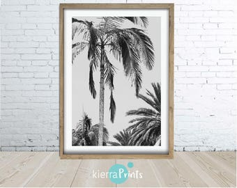Palm Tree Print, Digital Download, Poster, Coastal decor, Beach, Black & White, Home Decor, Photography, Modern, Digital Download