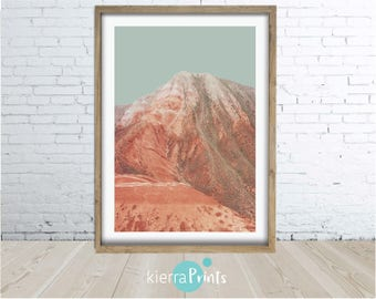 Rock Mountain Print, Wall Art, Digital Download, Minimalistic, Burnt Orange, Landscape, Beauty,Contemporary,Trending,Photography, Home Decor