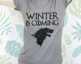 Winter is coming Starks tshirt Game of thrones shirt Game of thrones t shirt Game of thrones gift Shirt with wolf Game of thrones EDS_173