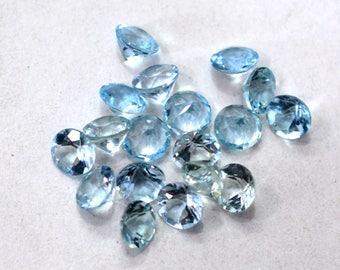 Aquamarine Natural Aquamarine Faceted Cut Stone Loose Gemstone 8.00 cts. 18 Pieces For Designer Jewelry - 4008