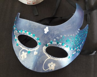 Mask Venetian blue and silver beads and sequins blue and white
