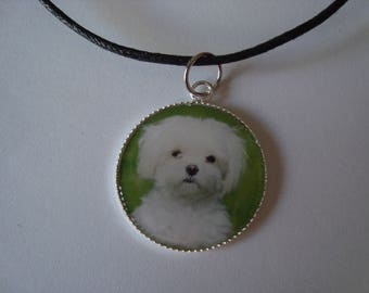 Pendant Necklace with a little white dog