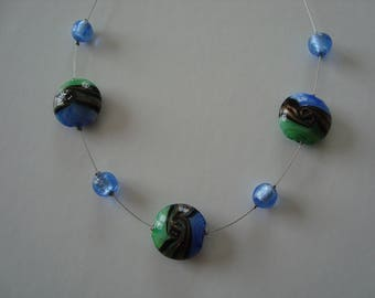 Simple necklace in shades of blue green