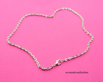 2 necklaces mesh cable with lobster clasp 45 cm silver chain