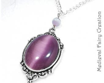 """""""Lavender"""" necklace silver and glass"""