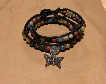 Beaded Wrap Bracelet with Butterfly Charm