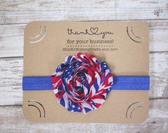 Red, White and Blue Patriotic Baby Headband Size 3-6months