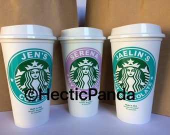 5 personalized Starbucks cups