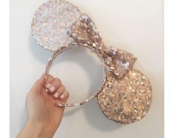 Rose Gold Sparkle Ears Disney Sequin Minnie Headband