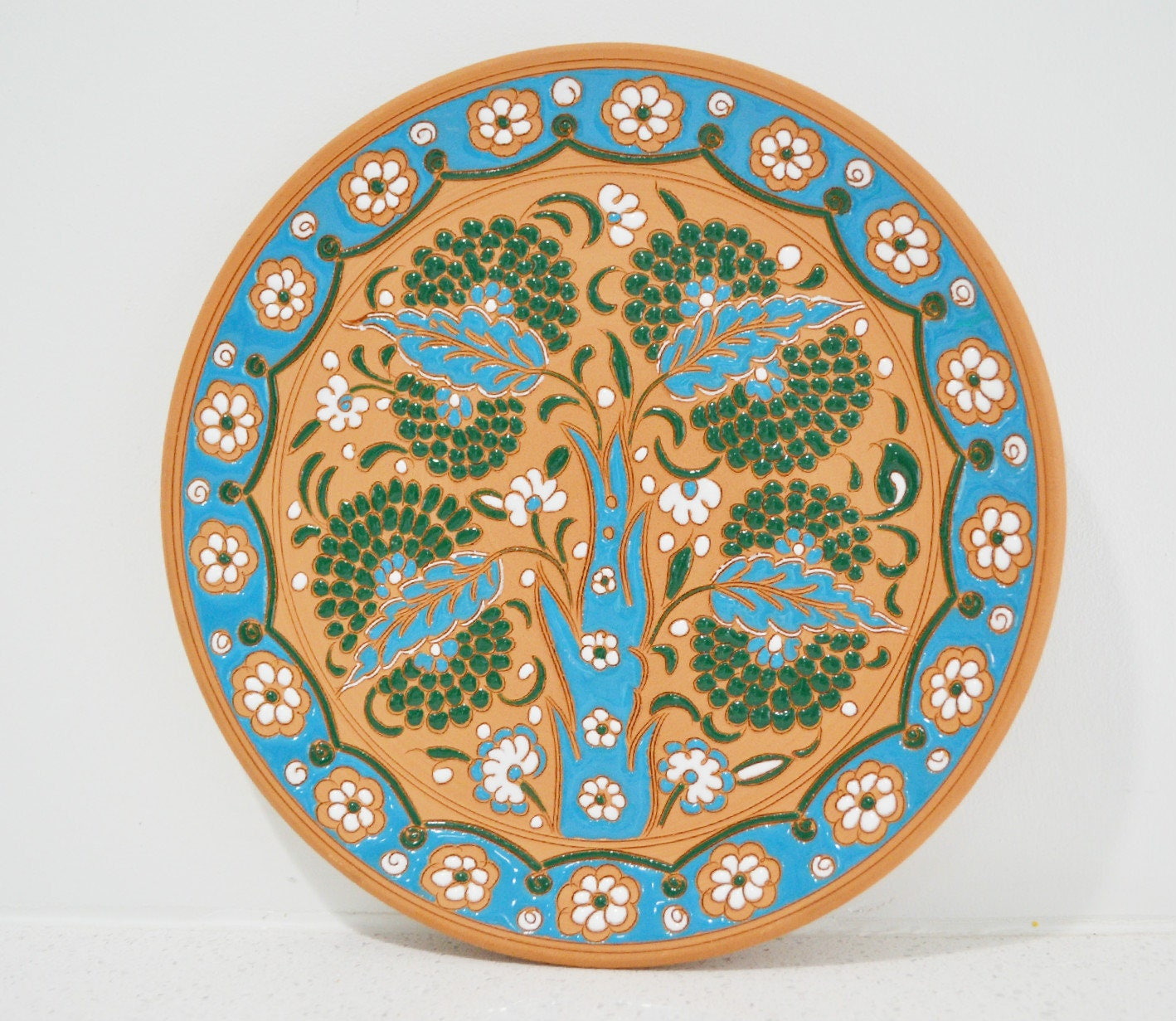 Vintage Ceramic Terracotta Decorative Plate  Ornamental Plate  Wall Plate   Electic Wall Decor