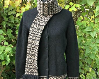 Black Knit Button Up Sweater / Black and Tan Sweater Attached Scarf / Black Wool Cardigan / Black Wool Button Up Sweater / Sweater and Scarf