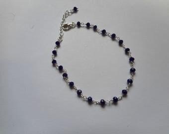 Lapis lazuli chain bracelet 925 sterling silver
