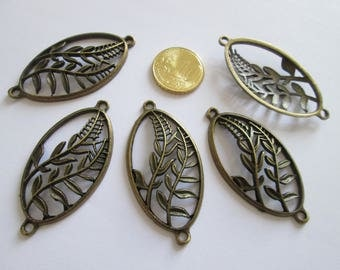 5 connecteur ovale feuille en métal couleur bronze  50 x 25mm