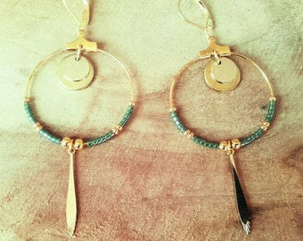 """TILIA"" khaki green hoop earrings"
