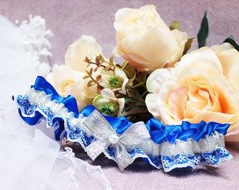 Bridal Wedding blue silver lace garter.