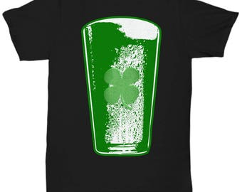 Black Irish Green Beer T-shirt With Shamrock For St. Patrick's Day