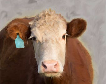 Hereford Digital Painting on 16 x 20 canvas