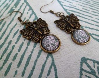 Earrings bronze 'butterflies and flowers.