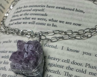 SOLD Amethyst crystal wire wrapped necklace
