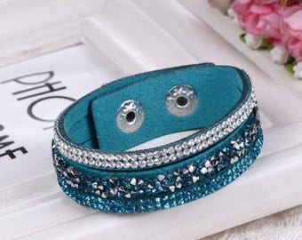 leather bracelet 1 x blue/green pattern rhinestone Crystal white/blue, green clasp snap silver 20.5 cm