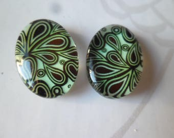 x 2 cameo/cabochon oval glass dome pattern Peacock feather 20 mm x 13 mm
