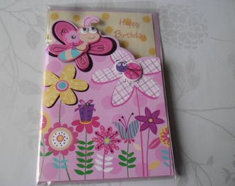 1 x double Butterfly/Ladybug/flower multicolored pattern 3D card + envelope pink 18 x 12 cm