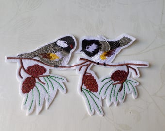 1 embroidered applique badge patch fusible birds x