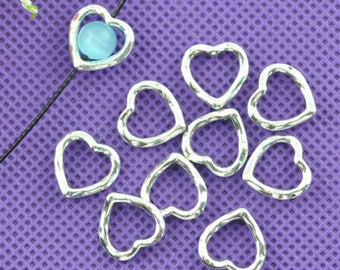 x 10 frames with pearls silvery heart 14 x 14 mm