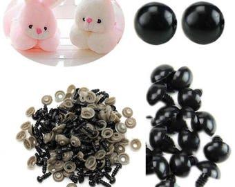 plastic black eye stuffed animal/toy/doll + tips x 50 round 14 mm safety eyes