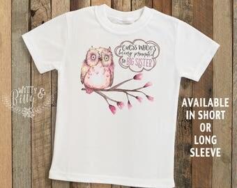 Guess Whoo's Being Promoted To Big Sister Owl Kids Shirt, Woodland Style Kids Shirt, Cute Kids Tee, Boho Kids Tee, Girl Kids Shirt - T264G
