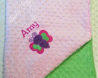 Personalized  baby minky blanket with applique,Personalized baby girl blanket, keepsake blanket, security blanket