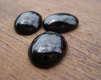Black Onyx - 3 Natural Black Onyx Cab - Black Onyx Oval Cab MG60