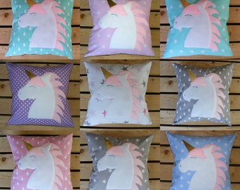 Unicorn,pillow and cushion cover,baby,gift,handmade,kids,cotton,girl,boy,cute,pink,blue,ift,gift idea,