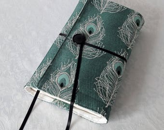 "Adaptable book larger fabric ""Peacock feather"" turquoise blue background, white cotton lining"