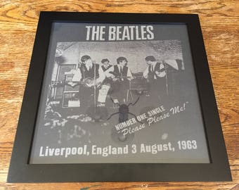 The Beatles 1963 - 14x14 Framed Black & Gray T-Shirt