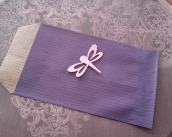 Small purple gift bag and Dragonfly sticker