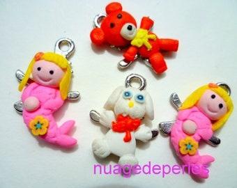 4 charms fimo polymer Mermaid pendant dog Teddy