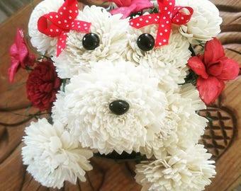 Puppy shaped floral arrangement- puppy decor- valentines day flowers