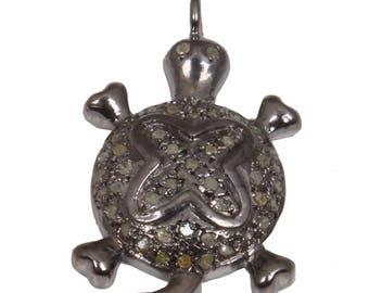 Pave Diamond Pendant, Diamond Tortoise Pendant, Tortoise Pendant , Tortoise, 92.5 Sterling Silver Pendant