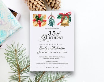 Christmas Theme Birthday Invitation Watercolour Holly Christmas Bell Birthday Invite Winter Birthday Party Printable Adult Birthday Invite