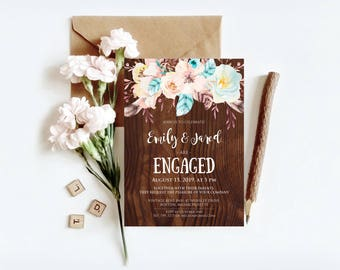Rustic Engagement Invitations Engagement Dinner Party Invitations Printable Template Floral Wood Feathers Engagement Invites Spring Wedding