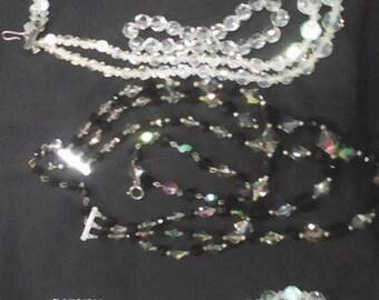 3 Swarovski crystal necklaces. With bracelets