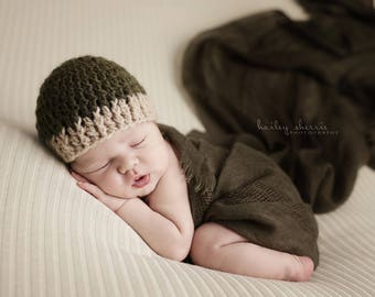 Hat green baby boy Hat baby Bonnet, newborn Hat