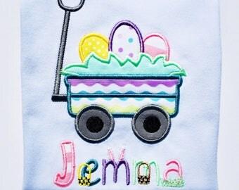 Easter Egg Wagon Embroidered Bodysuit or T-Shirt-Girls